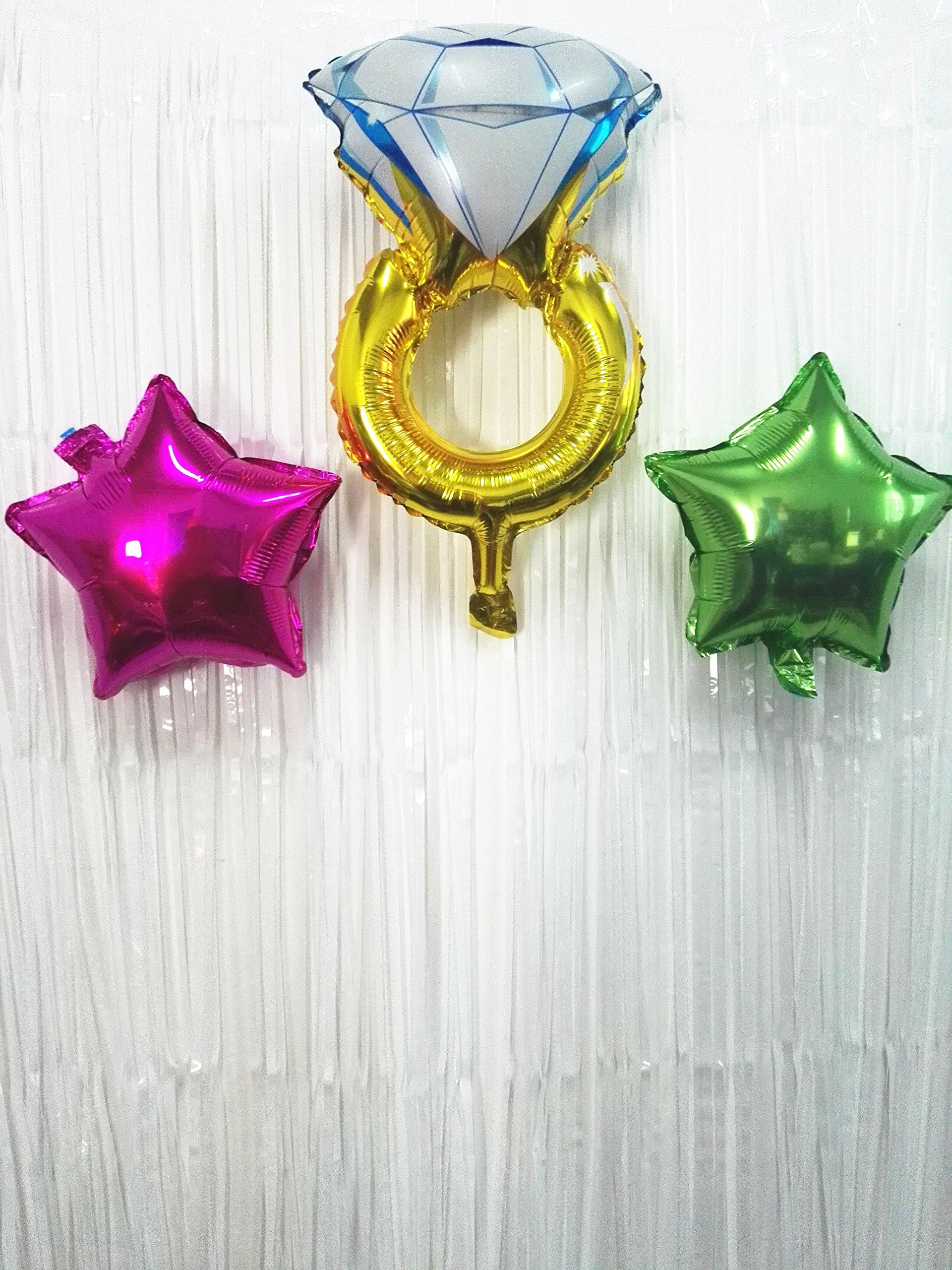 ShinyBeauty 6FTX8FT-Foil Fringe-Backdrop-White,Metallic Foil Fringe Curtains,Shimmer Foil Fringe Decoration