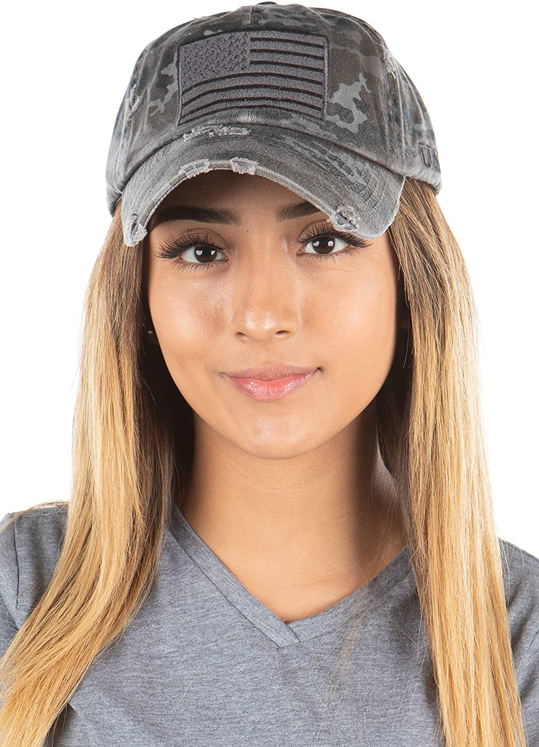 Distressed White USA Flag Adjustable Baseball Cap Sport Hats for Men and Womens