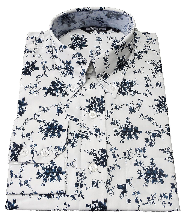 Relco de Color Blanco de Flores de diseño de Flores de Retro botón de algodón de Manga Larga Mod de plumón de Patrones de Costura para Camisas: Amazon.es: Ropa y accesorios