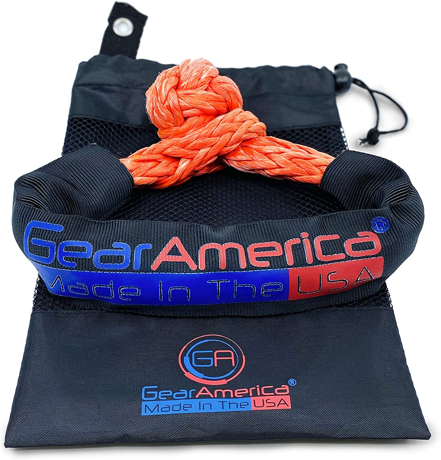 "2PK | 45,000 lbs Breaking Strength for Off-Road Recovery /& Towing Stronger /& Safer Than D Rings Made in USA Protective Sleeve /& Storage Bag Included GearAmerica /½/"" Synthetic Soft Shackles"