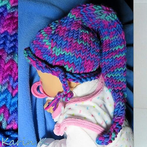 Baby Zipfelmütze In Pink Lila Violett Blau Und Grün Im