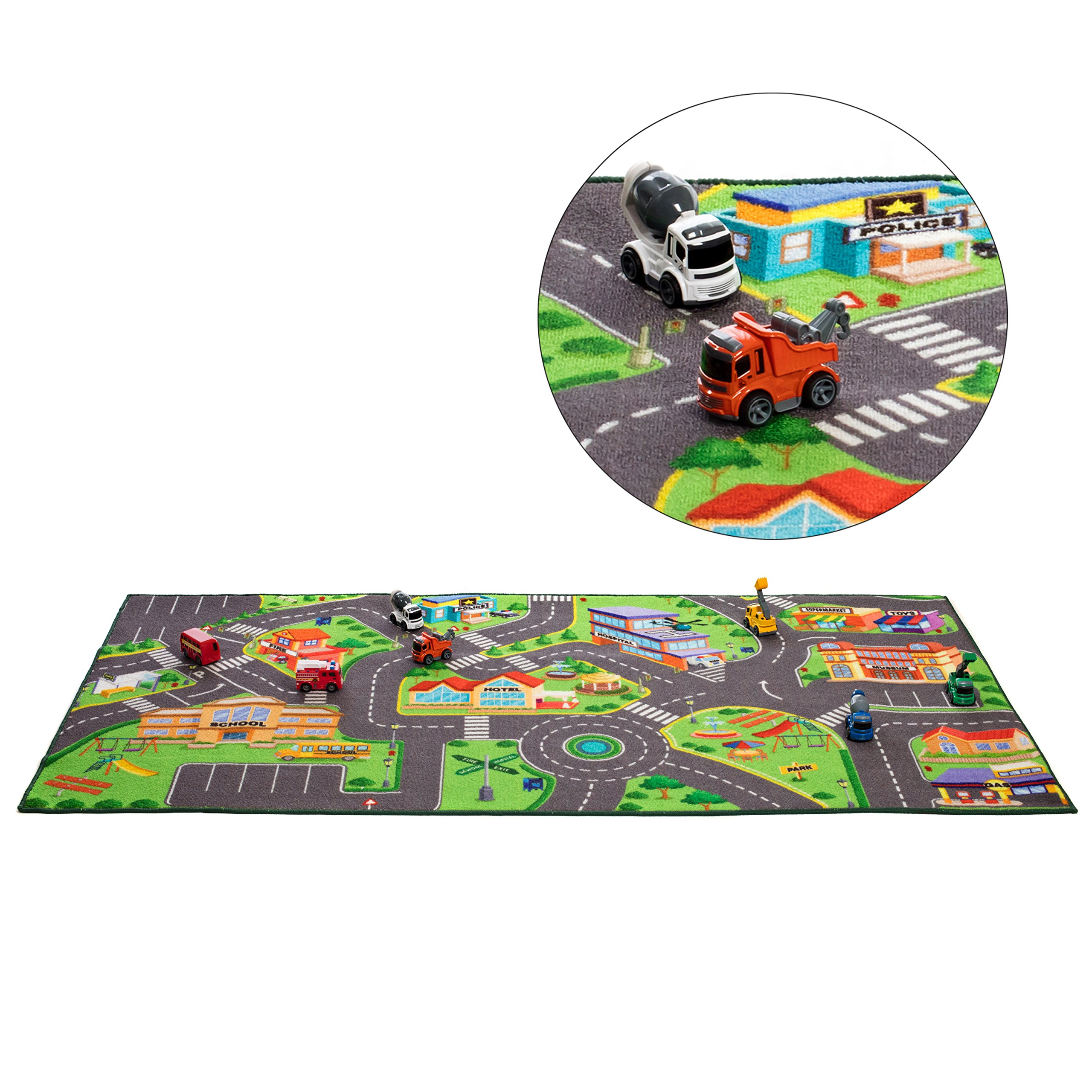 Washable Community Play Rug For Matchbox Cars 36 X 72 Inches