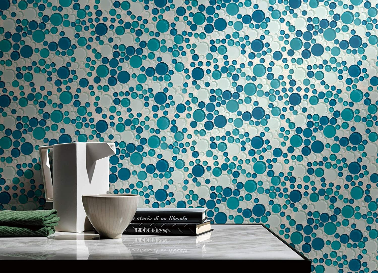 Glass Mosaic Tile,Bubble Collection Sample Swatch 5-1//2X3-1//2 Ocean GM 4104 Mixed Rounds 12X12X5//16