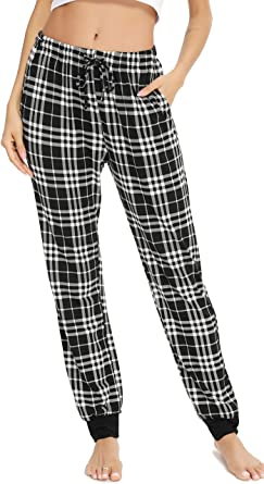 Vlazom Women Lounge Pants Comfy Plaid Pajama Bottoms Warm Stretch Sleep Pant with Pockets S-XXL