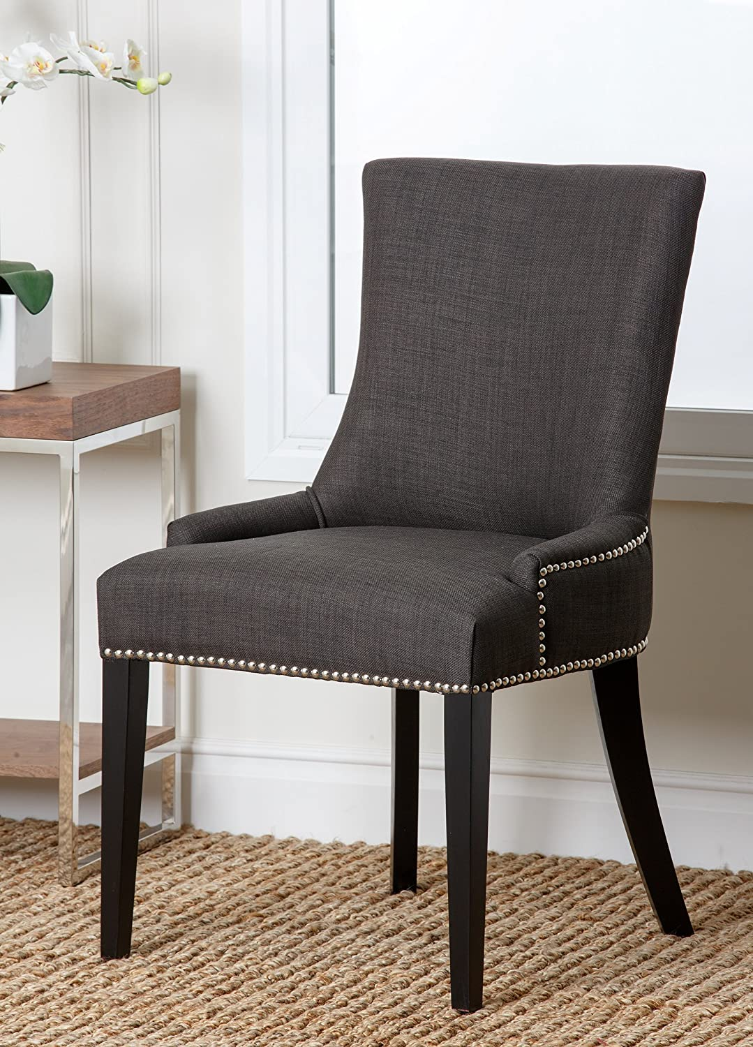 Amazon.com - Abbyson Annalise Fabric Nailhead Trim Dining Chair ...