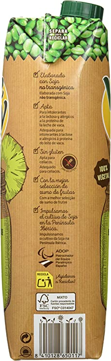Vivesoy Zumo de Piña y Soja - 8 Recipientes de 1 l - Total: 8 ...