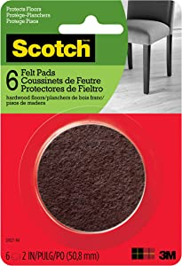 Scotch Brand SP827-NA Scotch Felt Pads Round, 2 in. Diameter, Brown, 6/Pack,