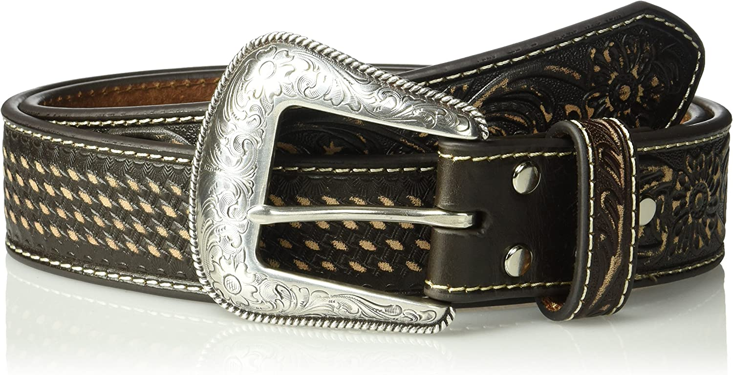 Nocona Mens Brown Sanded Basket Belt