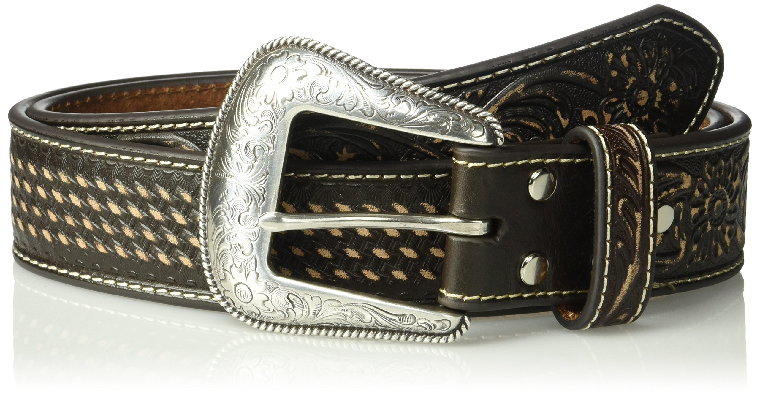Nocona Men's Sanded Basket Belt, Brown, 40