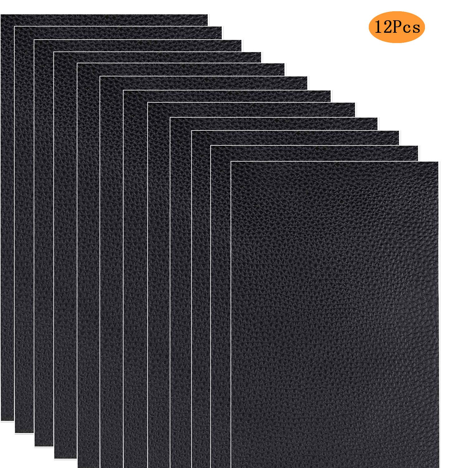 12 Pieces Leather Repair Patch Adhesive Backing Leather Seat Patch First Aid for Couch Furniture Sofas Car Seats Handbags Jackets, 10 x 20 cm (Black) Netrox