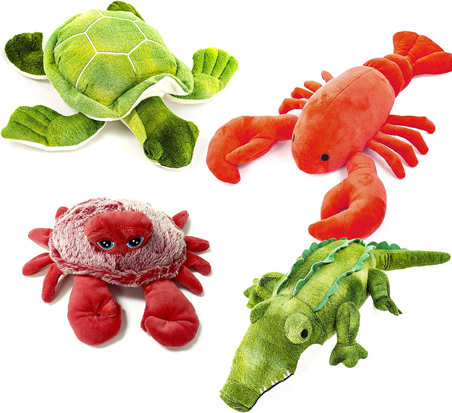 Sea Turtle Giftable World Metropawlin Pet Plush Pet Toy 4 Assorted Crab Lobster Alligator with Squeakers Dog Chew Toy