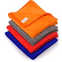 SIMBYSOFT Microfiber Cloth for Car Cleaning pack of 4pc 400GSM Polishing & Detailing Towel-40cm x 40cm