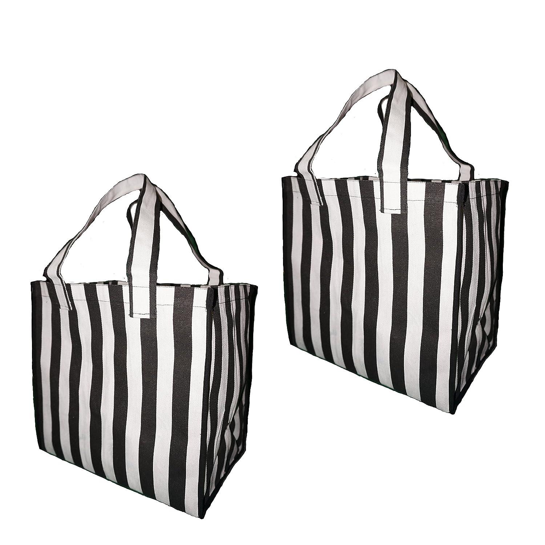 再利用可能なショッピングバッグGrocery (2パック) – Large Fordable強化丈夫なファッションバッグのロングハンドル ブラック B07CS7MK3X  White/Black Stripe