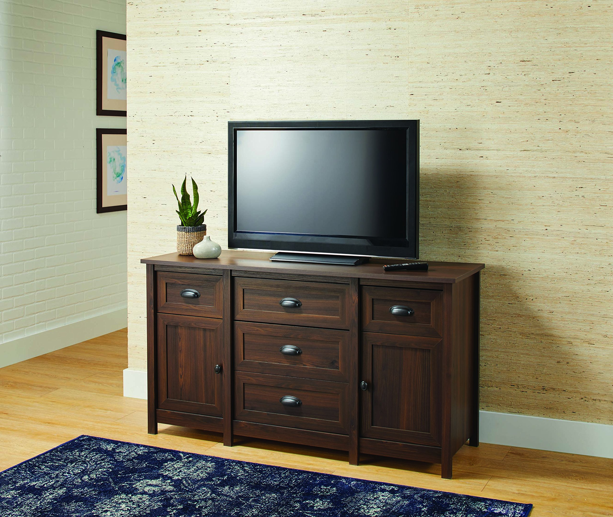 Better Homes and Gardens Lafayette Entertainment Credenza for TVs up to 50'', English Walnut Finish, (57.76 x 19.37 x 32.01 Inches ) by Better Homes and Gardens