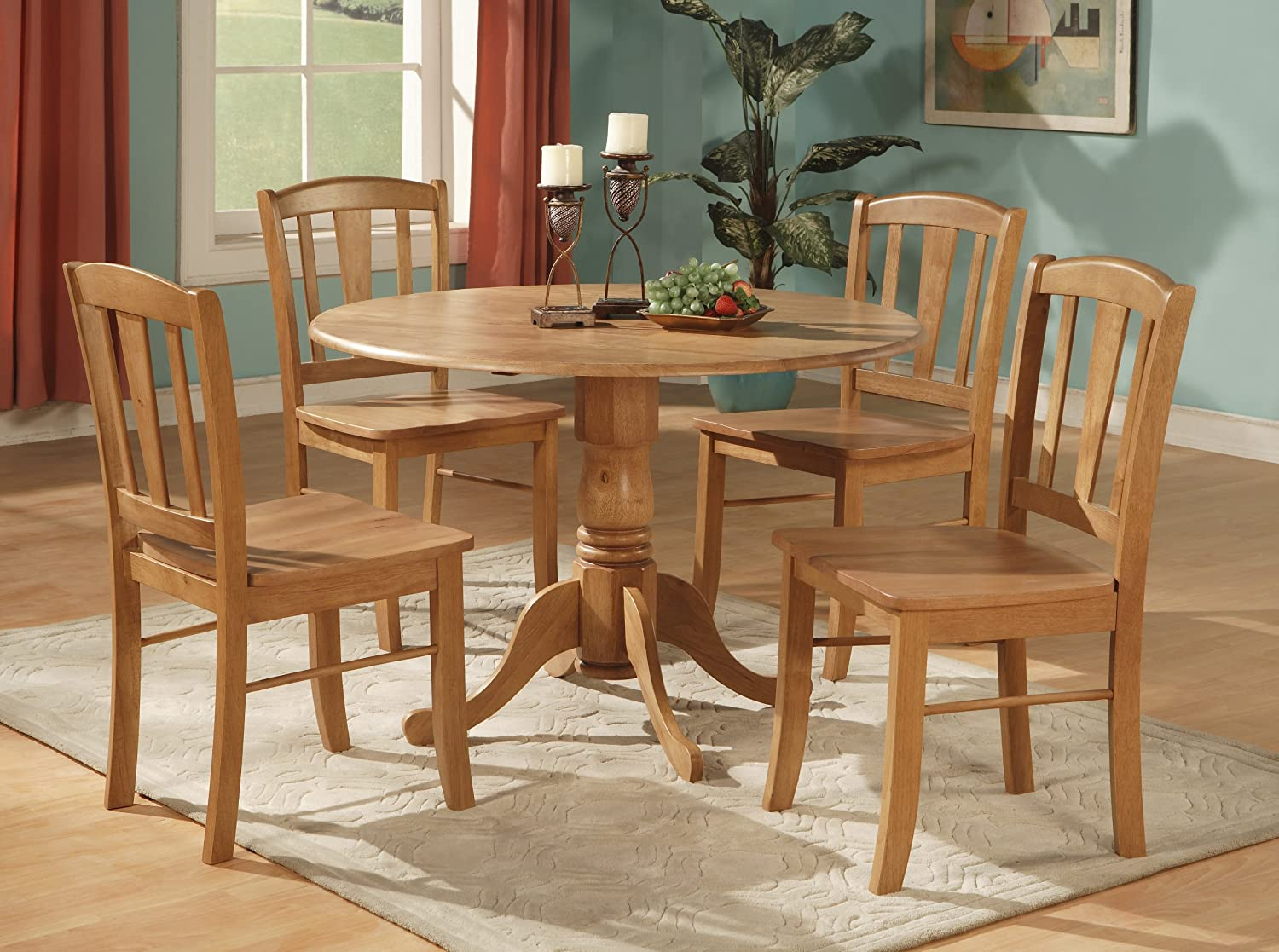 Dining room furniture charming asian Asian Inspired Amazoncom Simply Casual Toledo 5piece Dining Set Oak Table Chair Sets Amazoncom Simply Casual Toledo 5piece Dining Set Oak Table