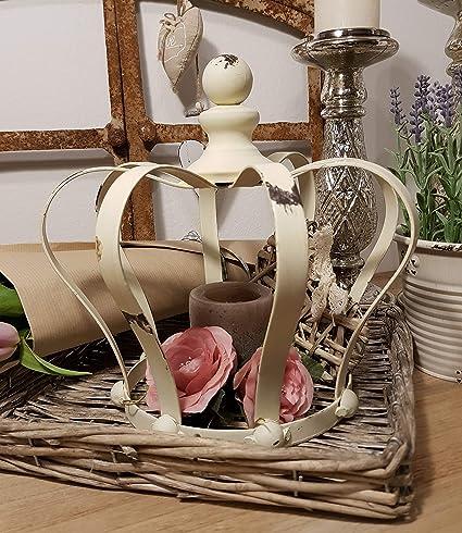 Gartenkrone Pflanzkrone Blumentopf Krone mit Lilie Farbe grau Krone aus Metall