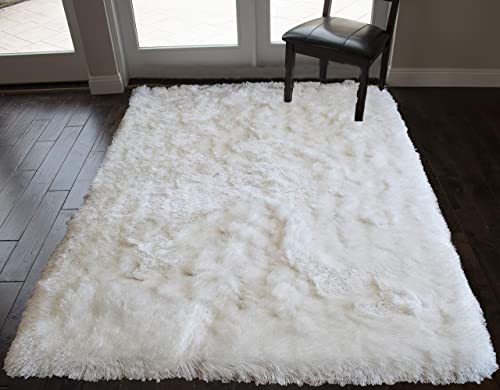 LA 5' x 7' Feet Shaggy Shag Fancy Collection Hand Woven Snow White Pure White Color Area Rug Carpet Rug Solid Plush Bedroom Living Room Office Space Decorative Designer Cozy Feel Fluffy Fuzzy Furry