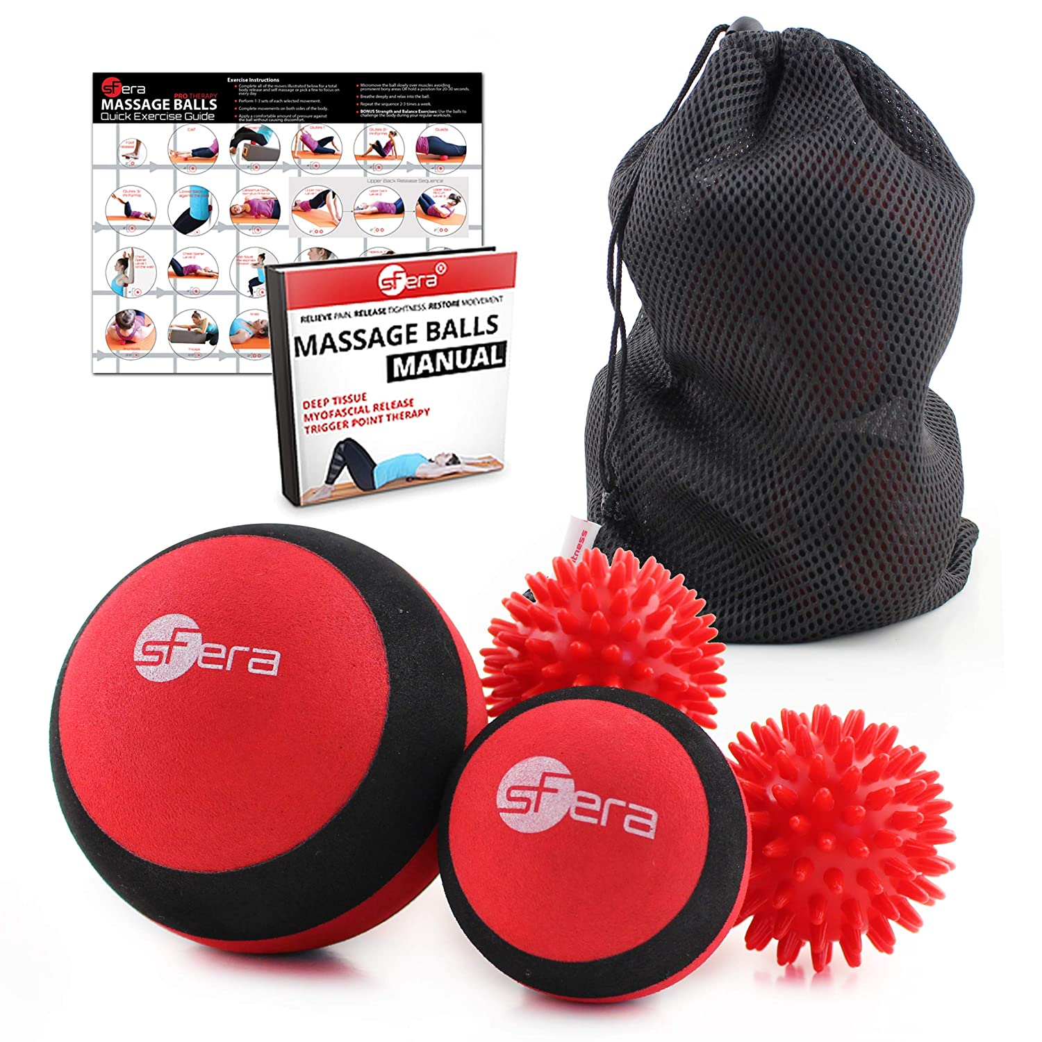 ecbd78dda334 sFera Deep Tissue Massage Balls Set of 4 for Trigger Point Therapy,  Myofascial Release | Includes: Small...