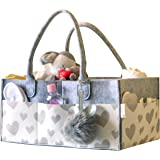 Littlegem4u Baby Diaper Caddy Organizer - Stress-free Diaper Changes - Sturdy, Lightweight and Portable - Large Space For All Diapering Essentials At Home Or On The Go - Unique Heart Print - Felt