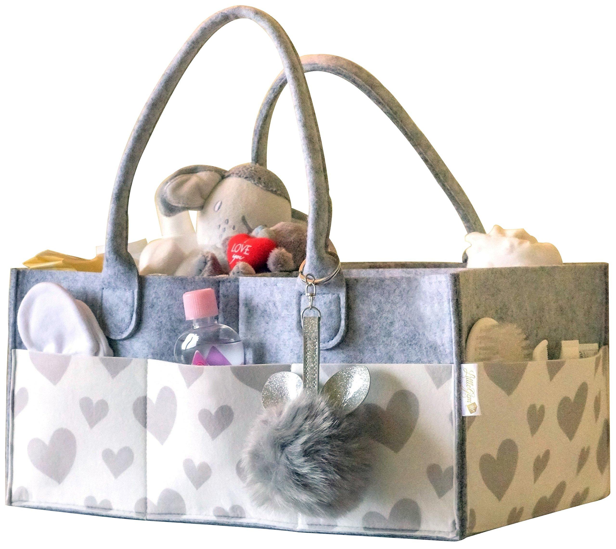 Littlegem4u Baby Diaper Caddy Organizer - Large Diaper Tote Bag   Portable Car Travel Organizer   Nursery Storage Bin   Toy Basket for Boys Girls   Baby Shower Gift   Newborn Registry Must Haves