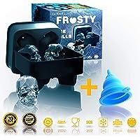 Frosty Skull Mold-3D - Molde para hielo con forma de calavera, silicona, 4 grandes calaveras, color negro