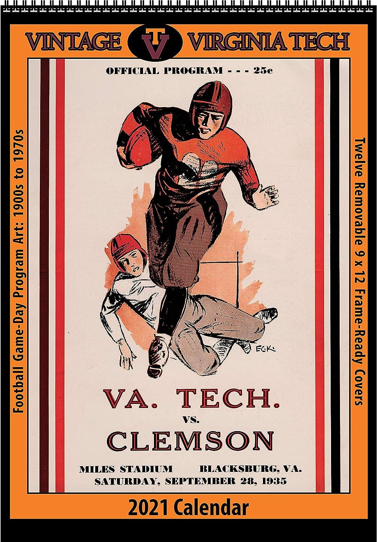 Virginia Tech 2022 Calendar.Amazon Com 2021 Vintage Virginia Tech Hokies Football Calendar Office Products