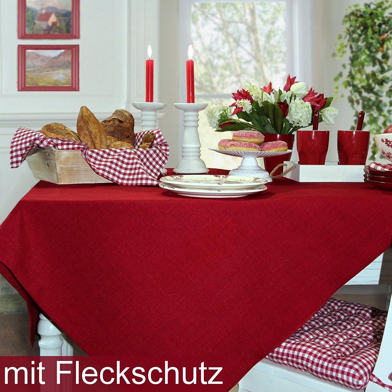 Sander Tischdecke LOFT Fb 01 rot   himbeerrot mit FLECKSCHUTZAUSRÜSTUNG Größe wählbar (150x300)