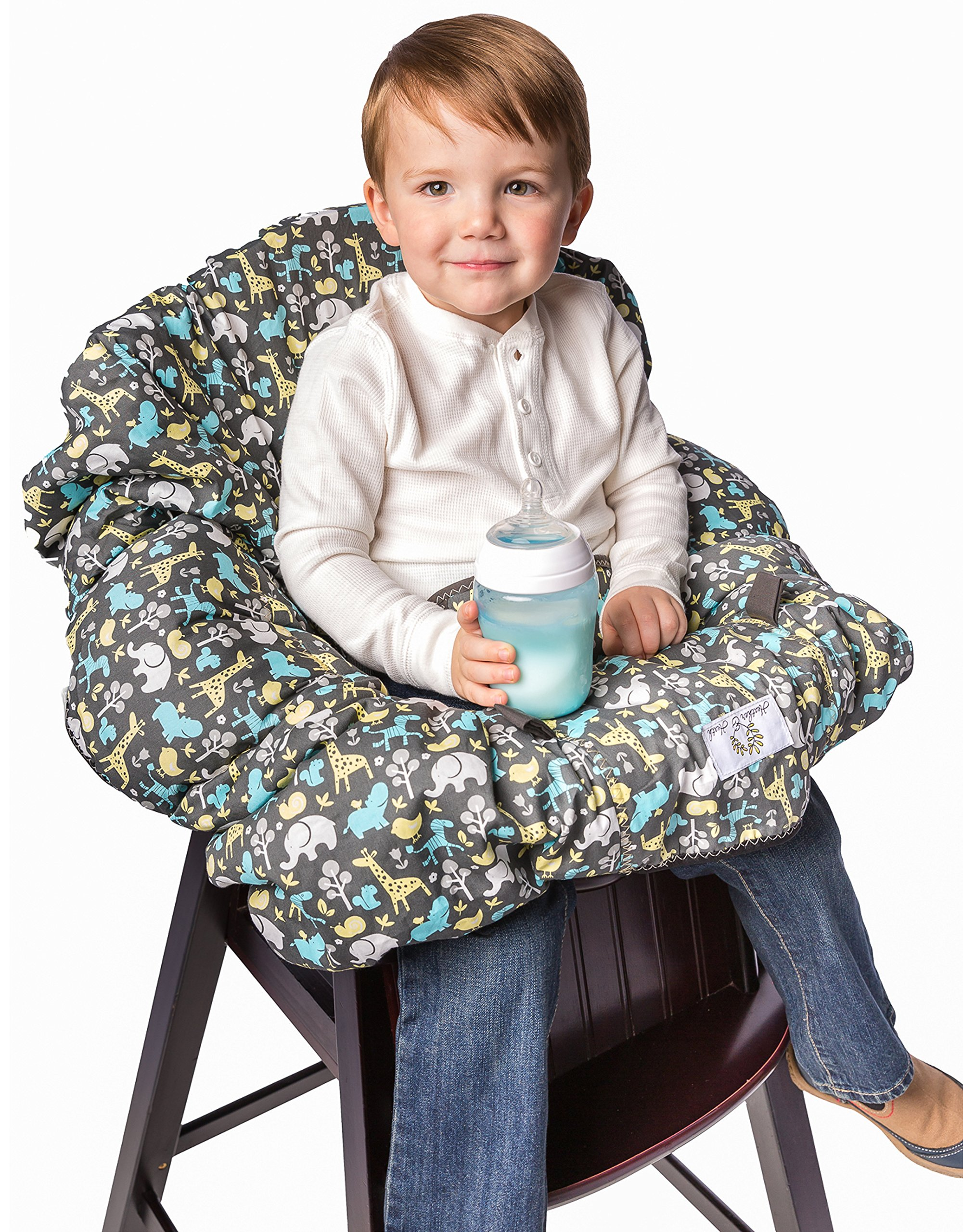 2-in-1 Shopping Cart Cover and High Chair Cover, Universal Fit, Ultra Plush, 100 Percent Cotton Upper, Full Safety Harness, Machine Washable for Baby, Toddler, Boy or Girl (Grey) by Heather and Heath Kids (Image #7)