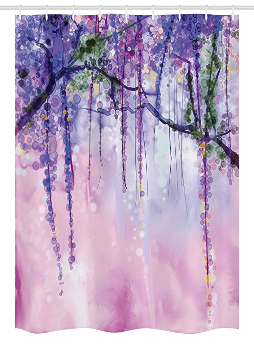 Watercolor Flower Stall Shower Curtain By Ambesonne Glicine Fiori