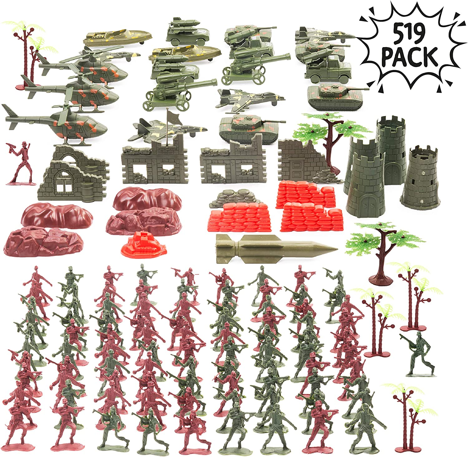 THE TWIDDLERS HUGE 519 Pieces Military Army Toys | Toy Soldiers Tanks WW 2 Military Soldier Battle Group Battlefield Accessories Playset | Play Bucket