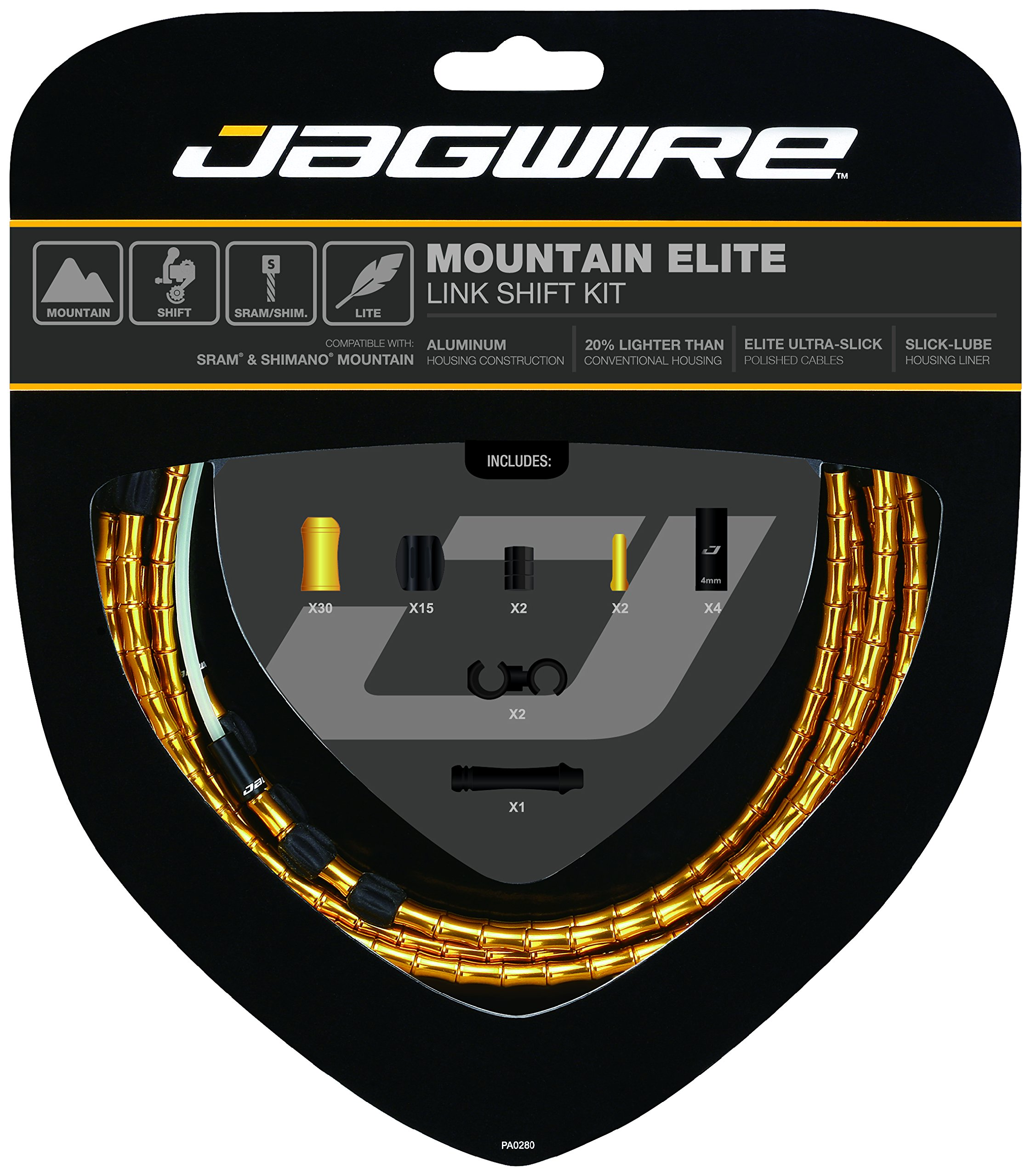 Jagwire Mountain Elite Link Shift Cable Kit Gold, One Size