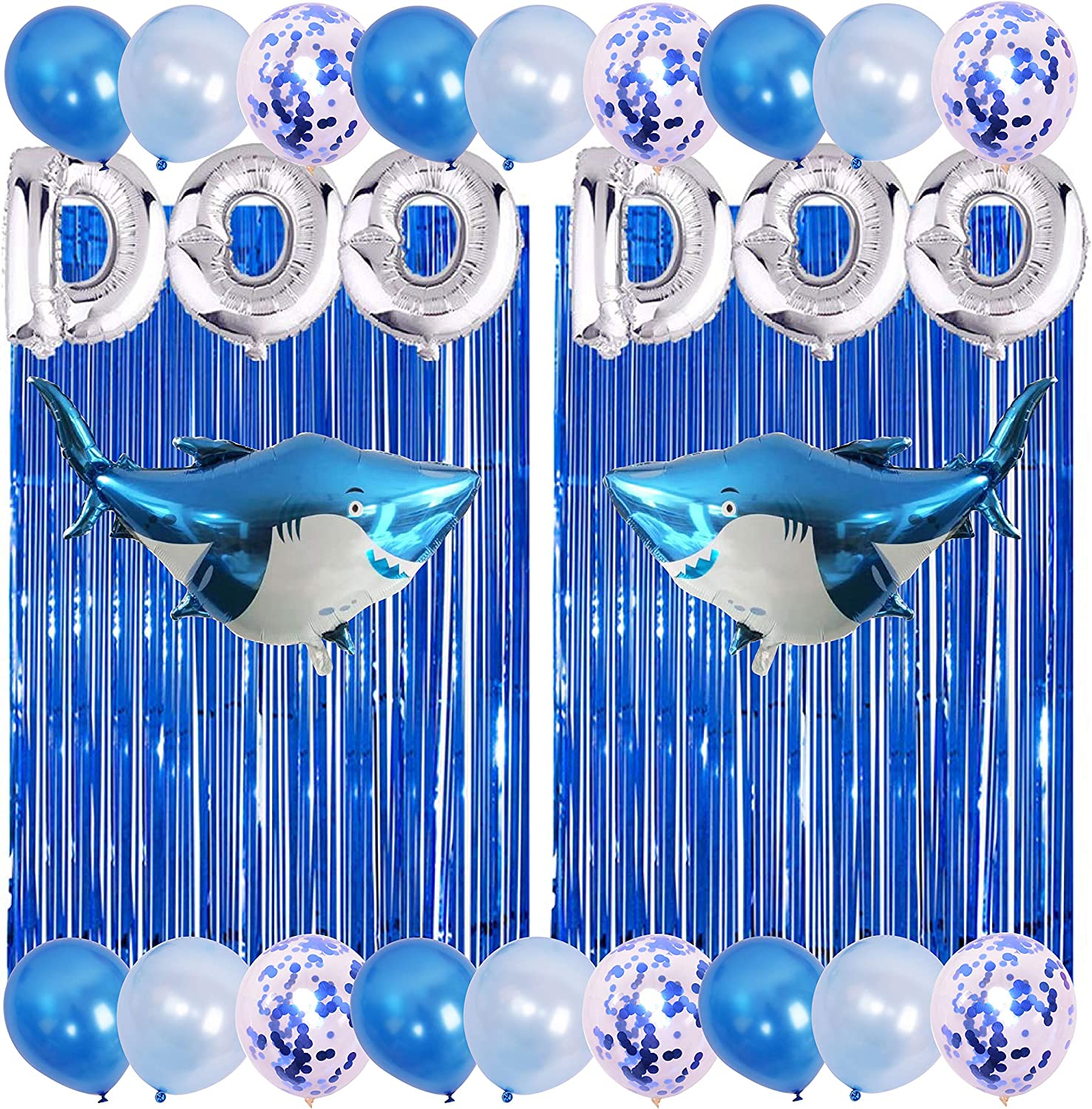 Baby Shark Birthday Party Decorations Include 2 PACK Metallic Foil Fringe, Silver Letter DOO DOO, 2 Foil Shark Balloons,12 Latex Balloons and 6 Confetti Balloons Baby Shark Party Supplies By 7 Colors Kids