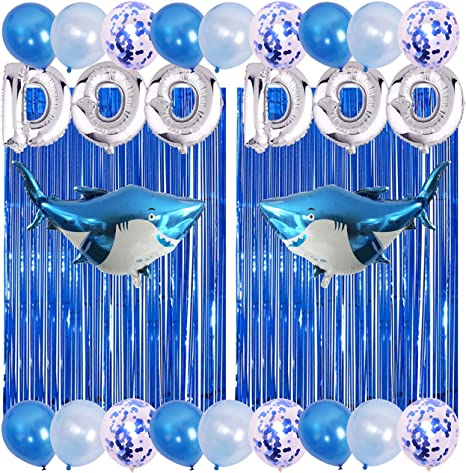7 Colors Kids Baby Shark Birthday Party Decorations Include 2 Pack Metallic Foil Fringe,Silver Letter DOO Doo,2 Foil Shark Balloons,12 Latex Balloons and 6 Confetti Balloons Baby Shark Party Supplies