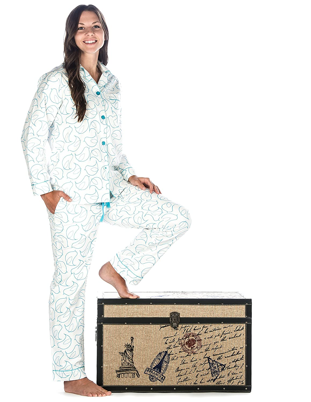 Noble Mount Womens Premium 100/% Cotton Flannel Pajama Sleepwear Set