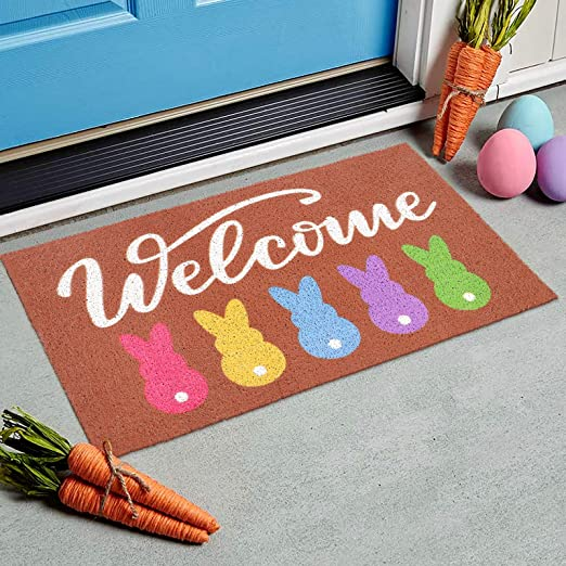 70CM Red Baby rabbit-SS European Semi-Circular Porch Bedroom Porch Absorbent Anti-Slip Mat Rug Mat ,A,45