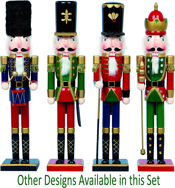 FESTIVE Premier Decorations Casse-Noix en Bois 60 cm Diff/érents Designs et Couleurs Rouge