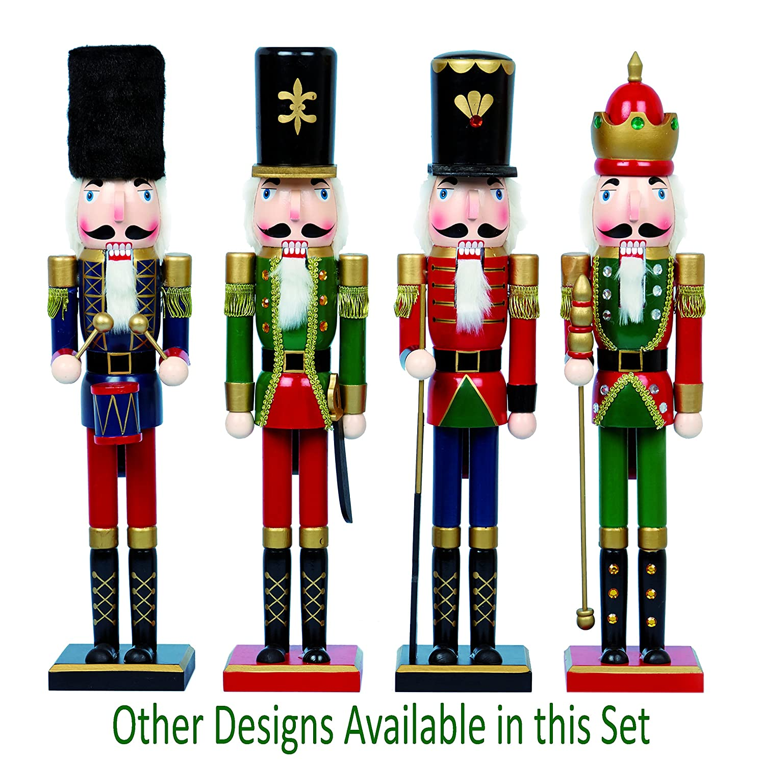 GREEN GOLD RED Buzz LARGE Traditional Wooden CHRISTMAS NUTCRACKER SOLDIER KING Decoration 60cm