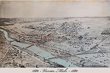 Amazon Com 24x36 Poster 1880 Birdseye Map Of Vassar Michigan All