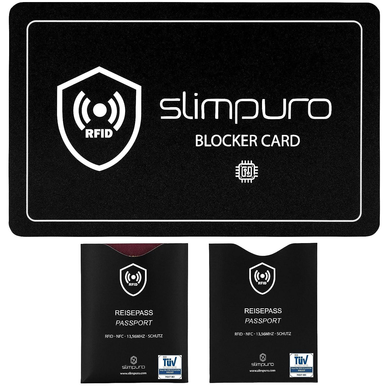 RFID Blocker Störsignal Karte mit 2 x TÜV geprüften RFID Reisepass NFC Schutzhüllen - Eine einzige Karte schützt Ihre gesamte Geldbörse - Kreditkarte, Personalausweis, EC-Karte, Bankkarte, Ausweis RFIDBLOCK1