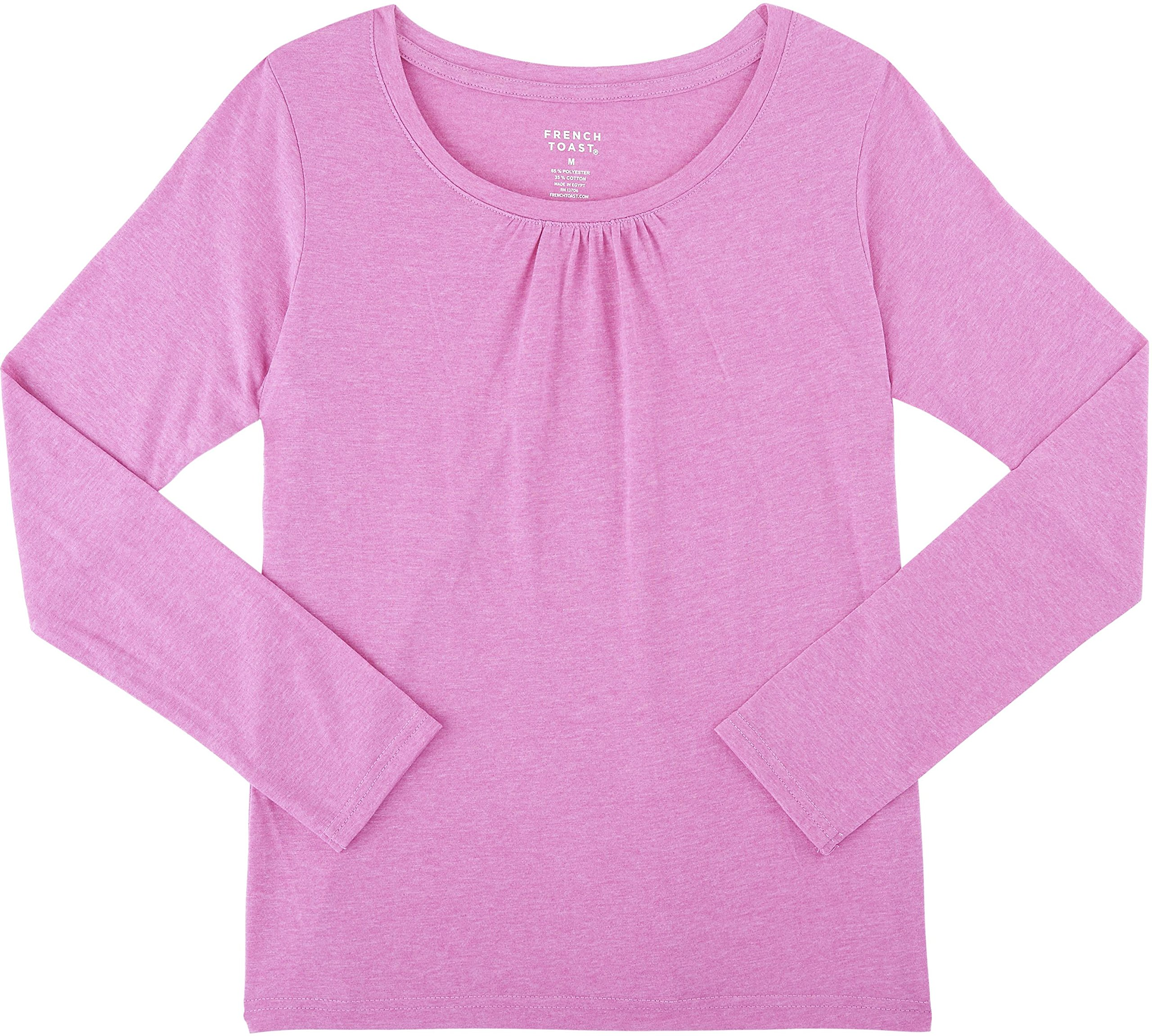 0248b6bdad7 Galleon - French Toast School Uniform Girls Long Sleeve Crew Neck T-Shirt  With Front Gathers