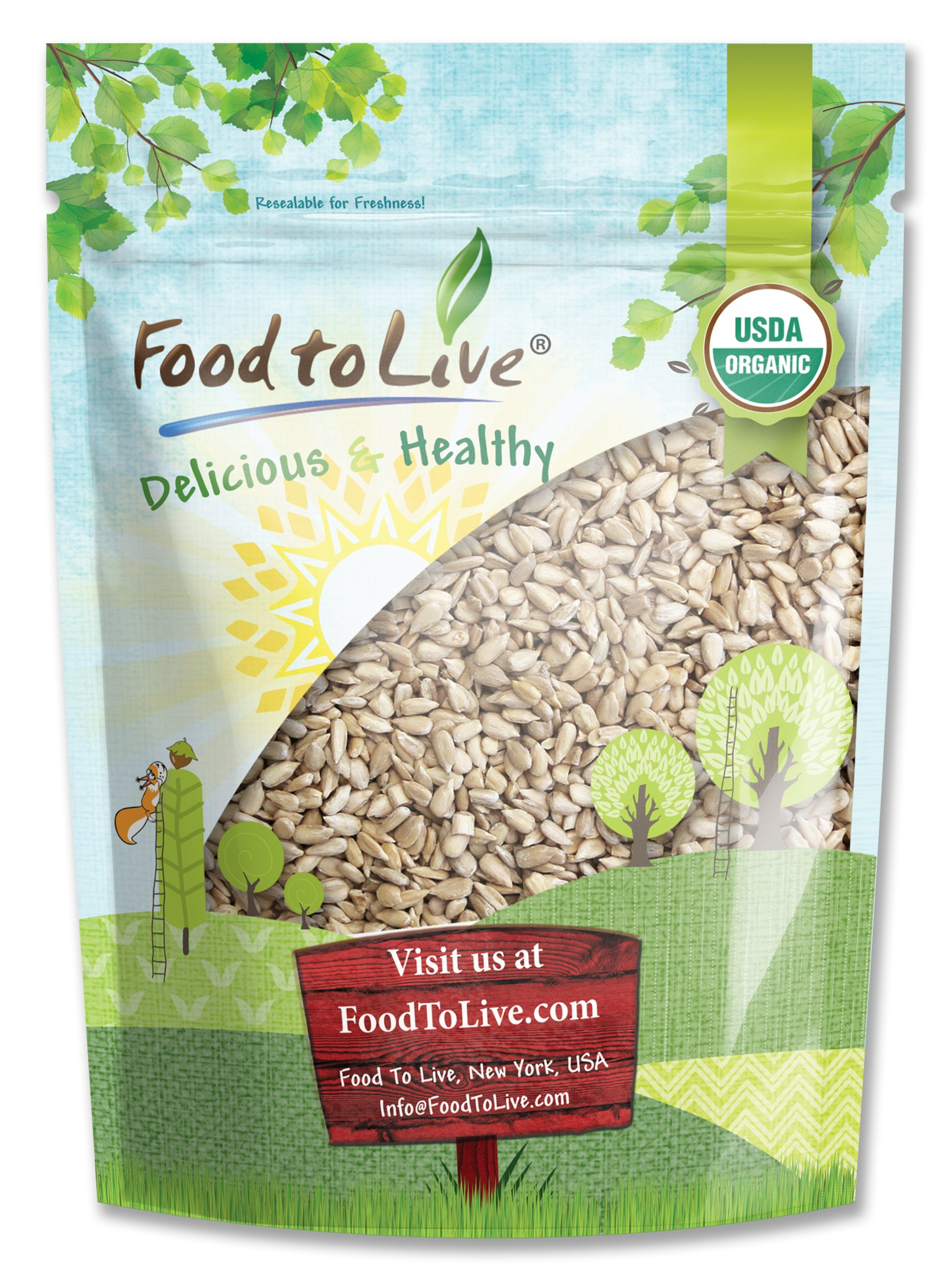 Food to Live Organic Sunflower Seeds (Hulled, Kosher) (1 Pound)