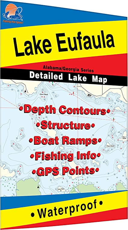 lake eufaula fishing map Amazon Com Lake Eufaula Walter F George Reservoir Fishing Map lake eufaula fishing map