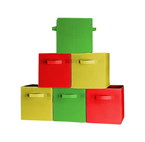 [6 Pack,3 Colors] Premium Quality Foldable Cloth Storage Bins For