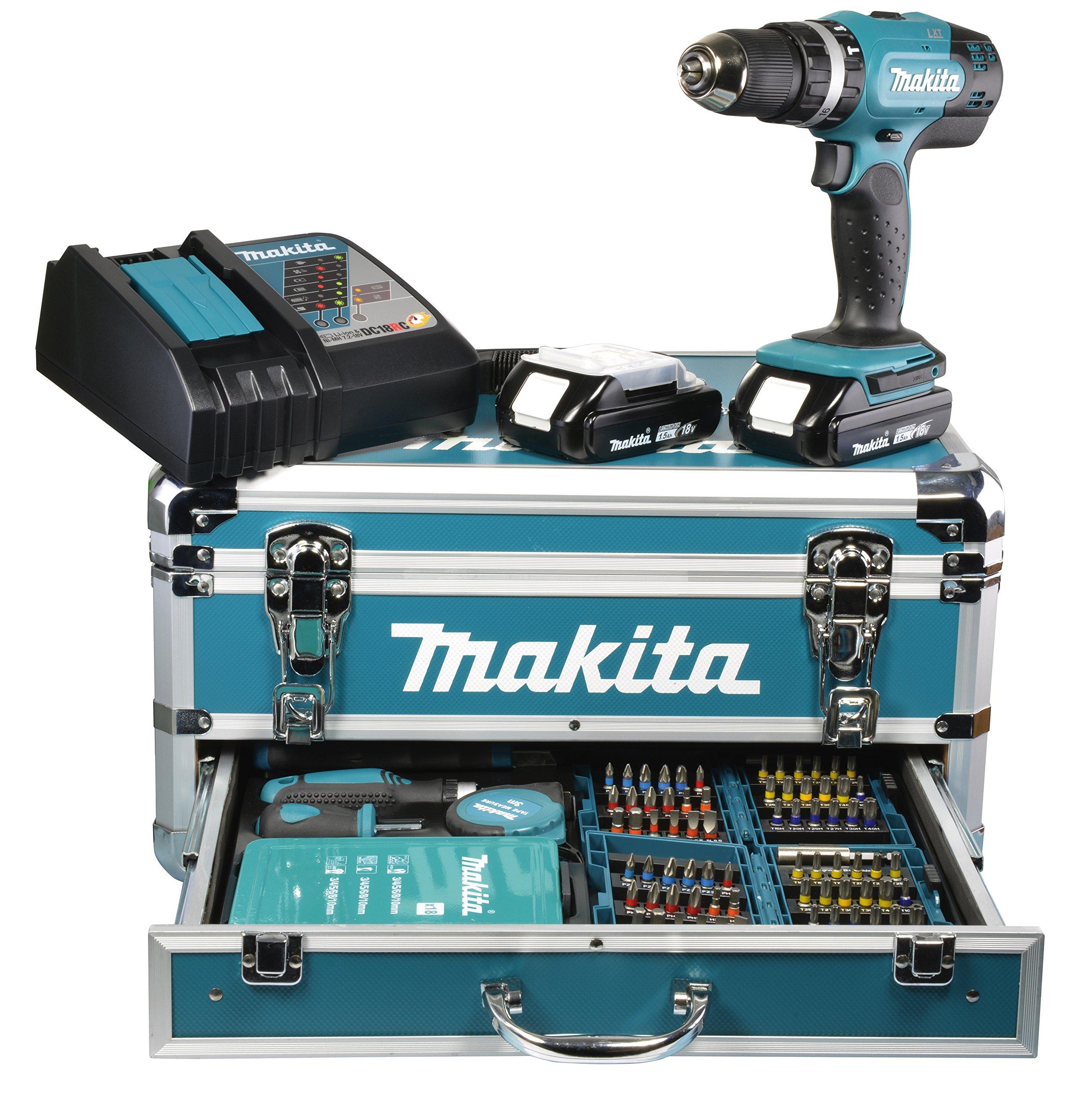 Makita BHP453RHEX2 Perceuse-Visseuse Sans fil 18V-Li/1,3 Ah en coffret Aluminium product image