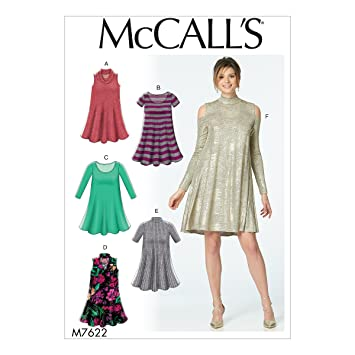 Amazon Mccalls M7622 Misses Knit Swing Dresses With Neckline
