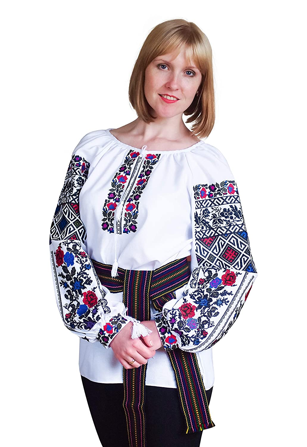 Embroidered Ukrainian Folk Blouse Natural Cotton Traditional Ethnic Style, New