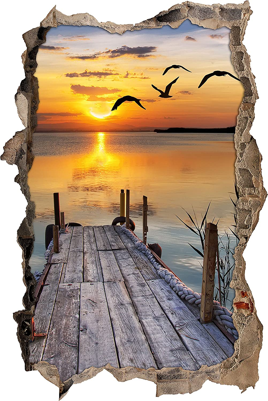 Spacious Wand Durchbruch Photo Of Pixxprint 3d_wd_s2521_92x62 Kleiner Steg Mit Bezauberndem Sonnenuntergang