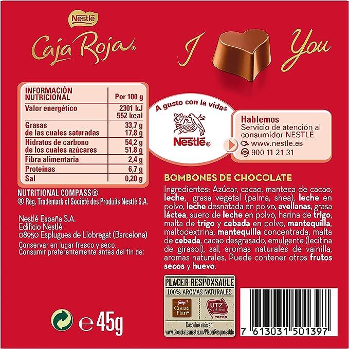 Nestlé Caja Roja Bombones de Chocolate - Estuche de bombones 45 gr: Amazon.es: Alimentación y bebidas