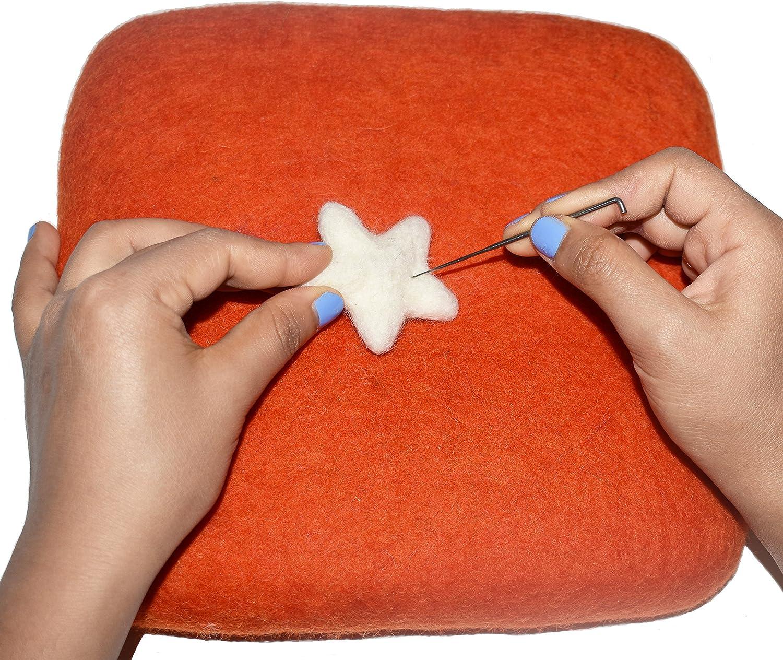 100/% Woolen Needle Fetling Mat Eco-Friendly Natural Wool Needle Felting 9 x 9, Orange