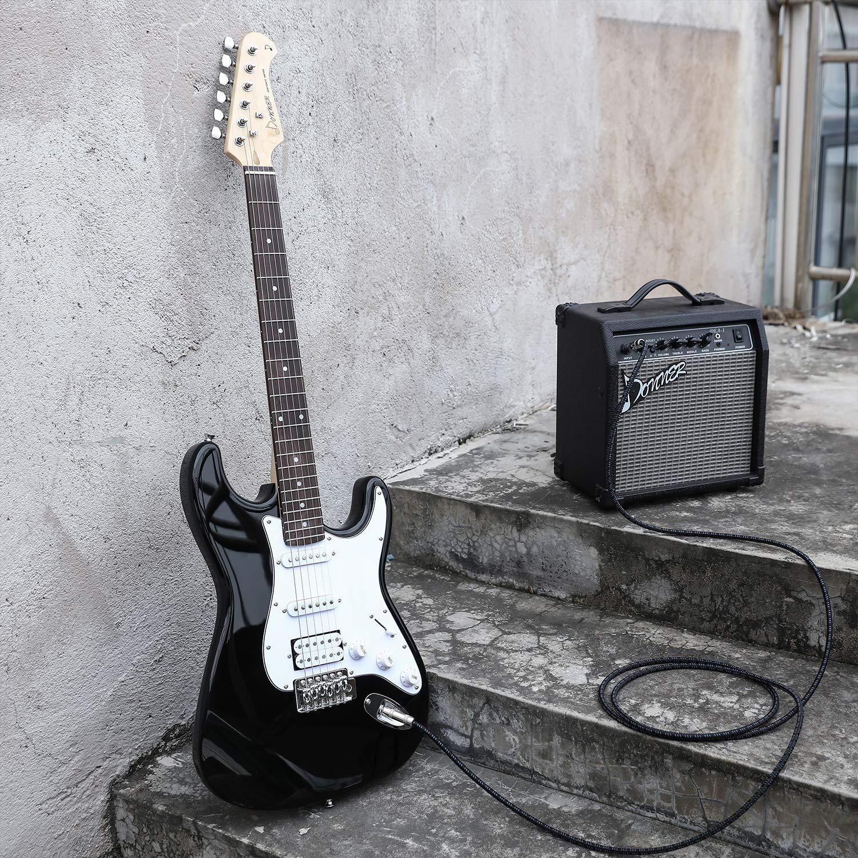 Donner DST-1B Guitarra Eléctrica Tamaño Completo de 39 Pulgadas Negro con Amplificador, Bolsa, Capo, Correa, Cuerda, Sintonizador, Cable y Púas: Amazon.es: ...